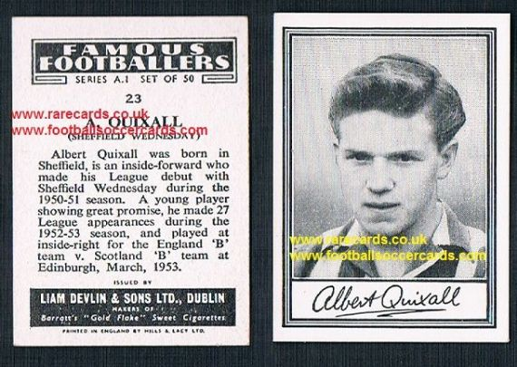 1952 Liam Devlin Ireland Series A1 #23 Albert Quixall Wednesday